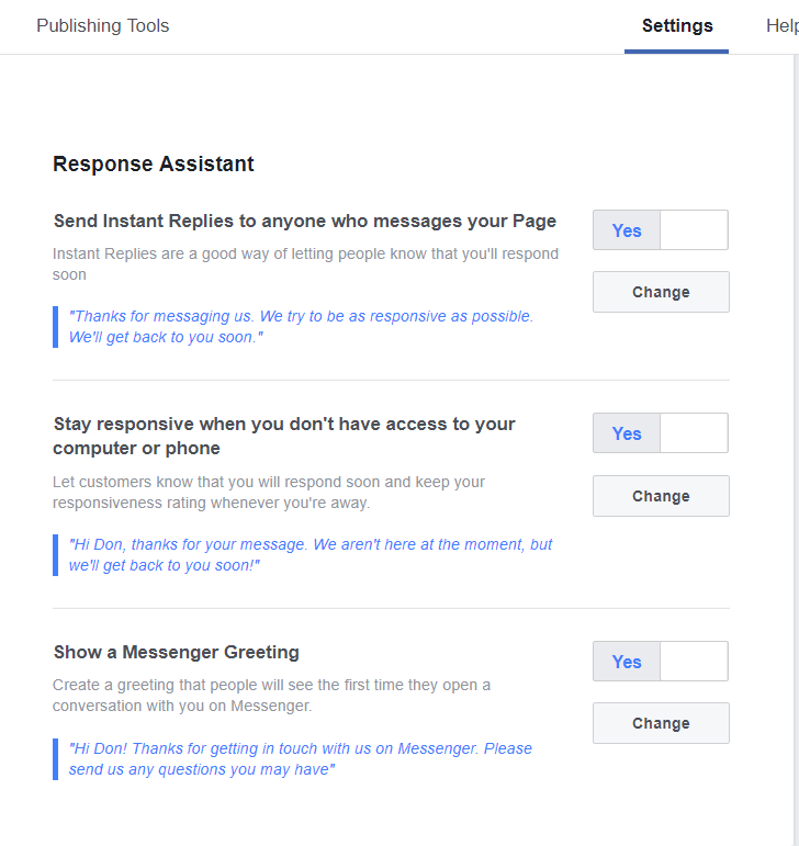 Set Your Facebook Messaging - Response Assistant