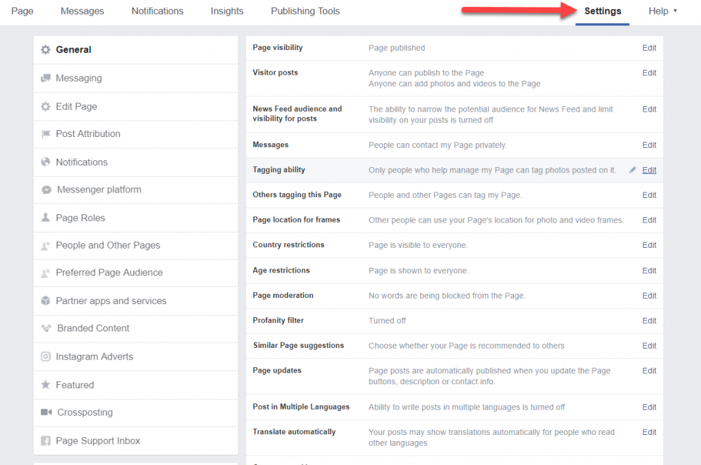 Facebook Page Setting